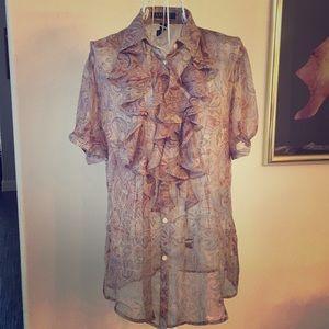 Ralph Lauren, sheer, paisley, short sleeve blouse
